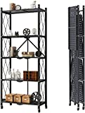 LRBBH 5 Tier Foldable Mobile Storage Shelving Unit, Foldable Storage Shelves with Wheels, Freestanding Large Capacity Storage Rack for Kitchen,Black