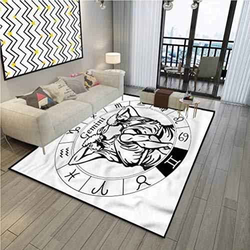 Zodiac Gemini Simple Rug for Kids Teens Room Comfy Cute Floor Carpets Male Greek Twins 6 x 4 ft