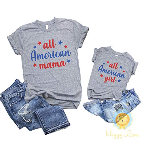 Happy Lion Clothing - 4th of July Shirt All American Girl, or Mommy and Me Matching Shirts All American Mama for Mom and Daughter