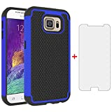 Phone Case for Samsung Galaxy S6 with Tempered Glass Screen Protector Cover and Slim Rugged TPU Hybrid Protective Cell Accessories Glaxay S 6 Gaxaly 6s Galaxies GS6 SM-G920V G920A Cases Black Blue