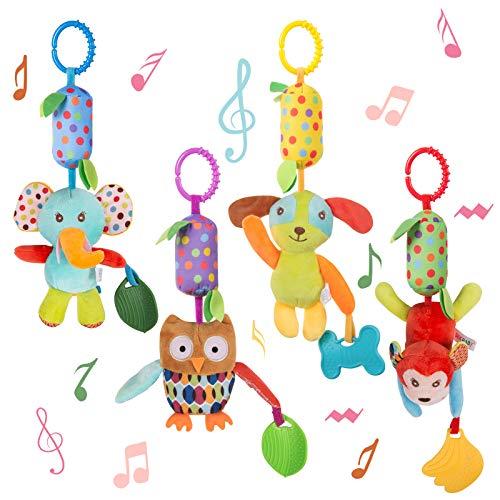 WolinTek 4 Piezas Juguetes Colgantes de Animales para bebés, Colgantes para cochecitos de bebé,Sonajero recién Nacido, Sonajeros Suaves Juguetes para bebés de 3 6 9 12 Meses Niños y niñas