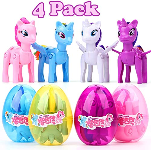 Why Choose SHEOO 4 Pack Unicorn Deformation Easter Eggs 3.5 inches Easter Eggs Filled Toy for Easter...