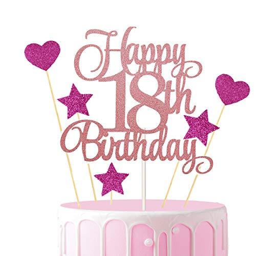 Party Tortendeko Geburtstag Set,3 Stücke Happy 18. Birthday Glitzer Kuchen Deko Rosegold mit 20 Stücke Glitter Herze Sternen Cupcake Topper,Geburstagstorte Deko Cake Topper für Mädchen Frauen
