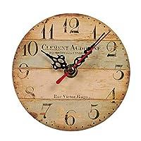 壁掛け時計、サイレント木製丸い壁掛け時計アラビア数字素朴なシックなスタイルの家の装飾壁掛け時計2#12cm(4インチ)