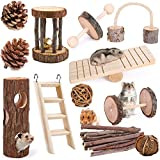 Elipark 12 Pack Guinea Pig Toys Set, Natural Apple Wood Rabbit Rat Bunny Chinchillas Hamster Chew Toys Treats,Wooden Hamsters Exercise Accessories for Small Animal Pets Chewing and Teeth Care