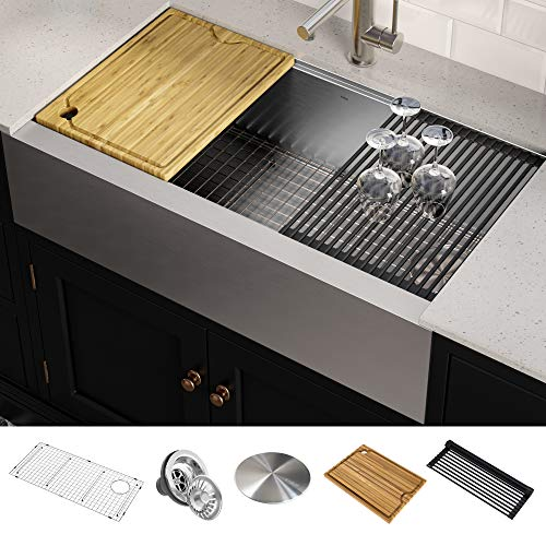 Stainless Steel Kitchen Countertop With Integrated Farmhouse Sink