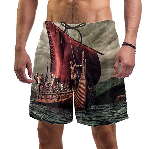 Eslifey Vikings Boot Floating On Sea Landcape Swim Trunks Elastischer Badeanzug Board Beach Shorts für Herren, L Gr. S 7-9, multi