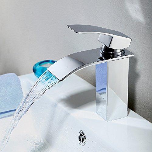 Homelody – Einhebel-Waschtischarmatur, ohne Ablaufgarnitur, Wasserfallarmatur breite Form, Chrom - 2