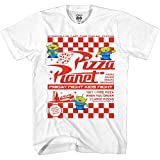 Disney Pixar Toy Story Pizza Planet Take Out Flyer Disneyland World Tee Funny Humor Men's Graphic T-Shirt(White,Large)