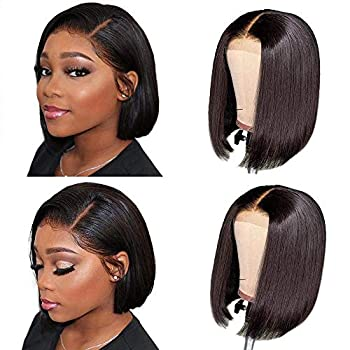 Bob Wig Human Hair 4×4 HD Transparent Lace Front Wigs for Black Women Brazilian Virgin Straight Short Bob Lace Front Wigs Human Hair 180% Density Pre Plucked Hairline with Baby Hair 12inch