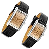 Romantic Couple Watch Set Square Watches for Men and Women 2 Pcs Retro Vintage Silver Tone Case Black Leather Wristwatch for Valentine's Day