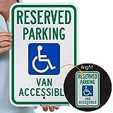 SmartSign'Reserved Parking - Van Accessible' Handicap Parking Sign   12' x 18' 3M Engineer Grade Reflective Aluminum