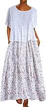 Plus Size Dresses for Women Boho Long Short Sleeve Crew Neck Summer Casual Beach Long Maxi Tank Dress with Pocket