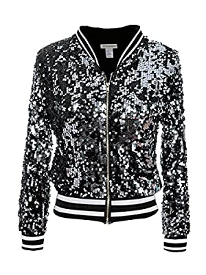 Anna-Kaci Womens Sequin Long Sleeve Front Zip Jacket with Ribbed Cuffs, White, Large from