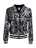 Anna-Kaci Womens Sequin Long Sleeve Front Zip Jacket with Ribbed Cuffs, White, Medium