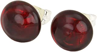 Murano Glass Button Stud Earrings - Ruby Red