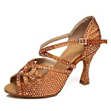 AOQUNFS Mujeres Peep Toe Rhinestones Tango Social Salón de Baile...