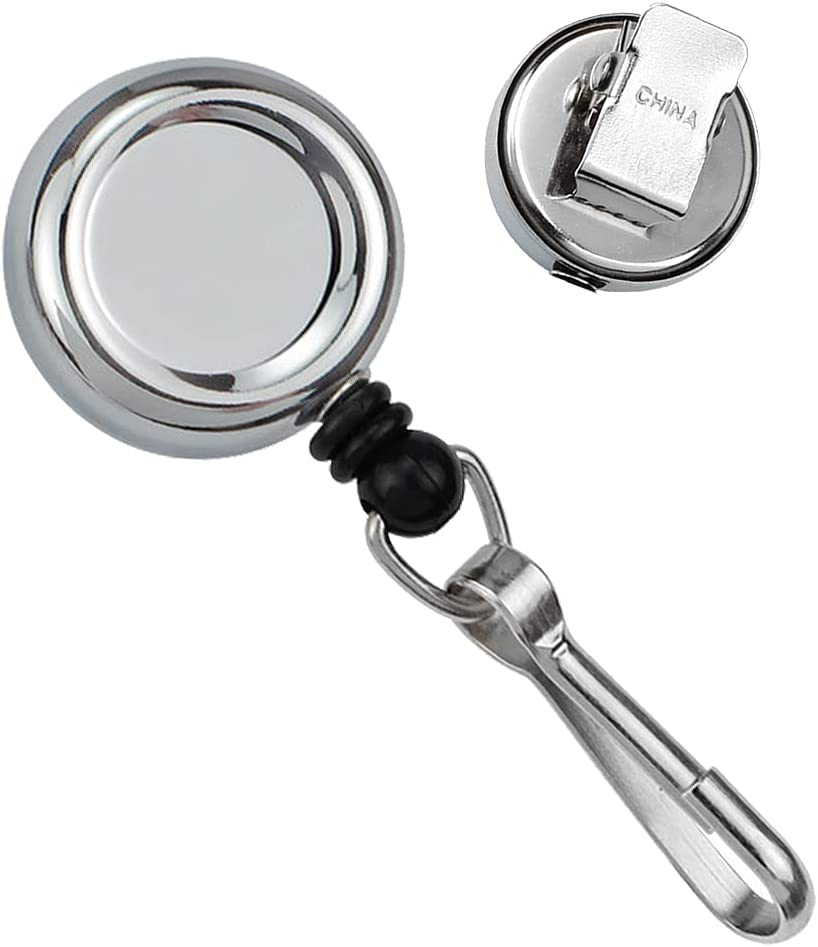 Small and Heavy Duty Metal Retractable Badge quality assurance Reel with Popular standard - J Hook