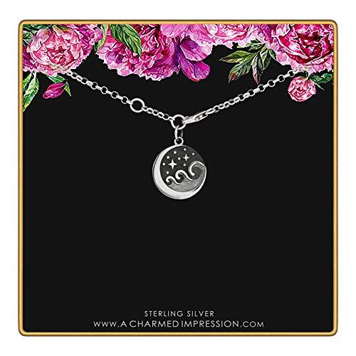 Sterling Silver Starry Night Ocean Waves Bracelet • Moonlight on The Sea • Stars Waves Moon Charm Bracelet • 6.5 - 7.25 Inch Adjustable Length • Handmade Jewelry Gift for Women / Girls