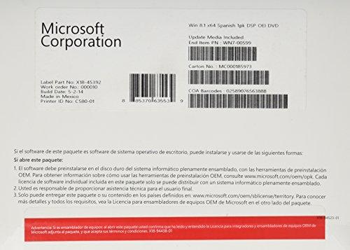 Windows 8.1 OEM 64 bit - 1 poste [import espagnol]