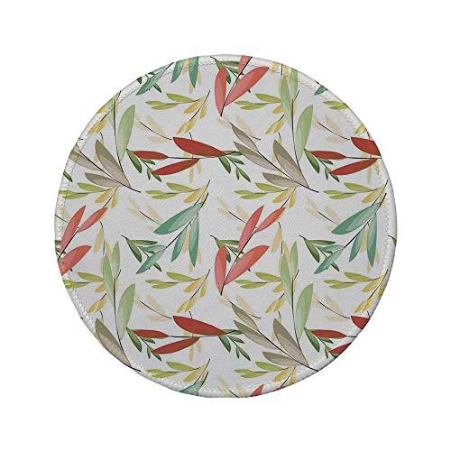 """Rutschfreies Gummi-rundes Mauspad Blätter abstrakt verblasste Blumenbilder und Retro-Muster mit altmodischer traditioneller Textur Multi 7.9\""""x7.9\""""x3MM"""