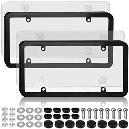 Linkhood Car License Plates Covers and Frames Combo, 2-Pack Car License Plate Frame Holder Shield for All Standard US License Plates, Screws Included (Clear)