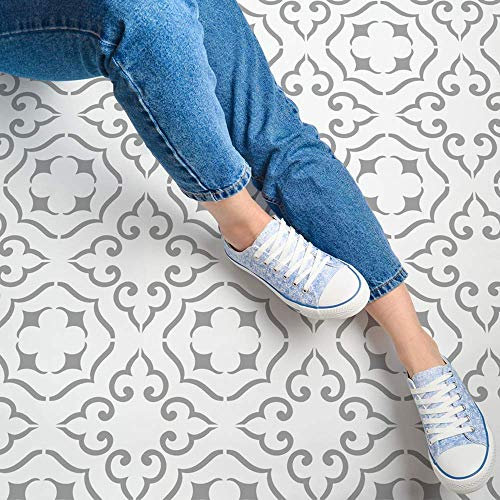 STENCILIT® Malaga Tile Stencil for Painting Floors - Repositionable for a 16x16 Tile - Large Floor Stencils For Painting Concrete - Tile Stencils For Painting Floors