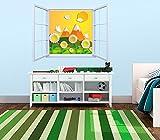 Vinilo Decorativo Pared Infantil | Ventana Flores Origami | Varias Medidas 100x100cm | Adhesivo Resistente y de Facil Aplicación | Multicolor | Pegatina Adhesiva Decorativa de Diseño Elegante