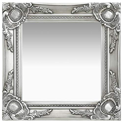 UnfadeMemory Specchio da Parete Cornice di Legno/Design Antico/Stile Barocco (40x40 cm, Argento)