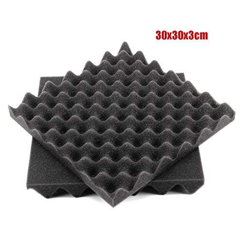 『Enipate 吸音材 ウレタン スポンジ 波型 24枚セット 30*30*3cm ウレタンフォーム 防音 12枚セット (24枚セット・ブラック)』の2枚目の画像