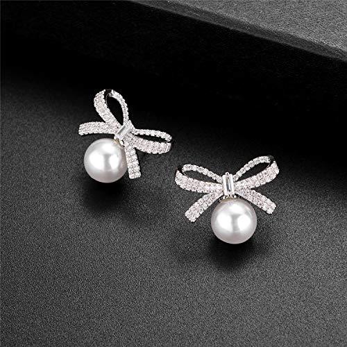 Jones New York Silver Ribbon Bow Crystal Rhinestones White Pearl Stud Earrings