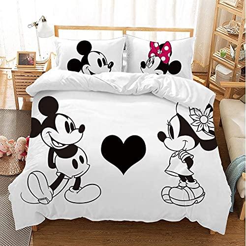 Aatensou Juego de ropa de cama de Mickey Minnie, muy suave y cómodo, impresión 3D de dibujos animados, 100 % microfibra, juego de ropa de cama (A3, 220 x 240 cm/50 x 75 cm)