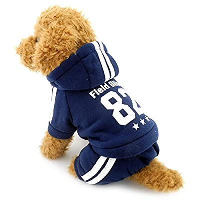 Ranphy Small Dog Winter Jumpsuit Sports Outfits Fleece Lined Sweatshirt Coat Print Pet Clothing Blue L