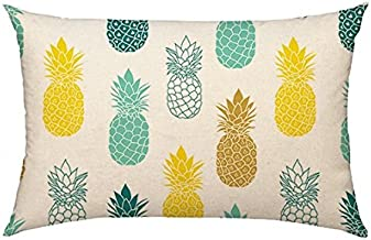 4TH Emotion Pineapples Throw Pillow Cover Summer Beach Decor Cushion Case Decorative for Sofa Couch 12 x 20 Inch Cotton Linen