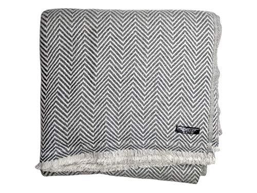 Annapurna Cashmere Lujosa manta de cachemira de 100% lana de cachemira, 125 cm x 250 cm, tejida a mano de Nepal (espiga gris)