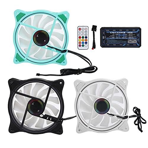 Ventiladores RGB de 120 mm, 3 ventiladores de refrigeración Controlador ARGB con 11 aspas de ventilador, paquete de 3 ventiladores ajustables Ventiladores silenciosos para CPU(Verde negro blanco)