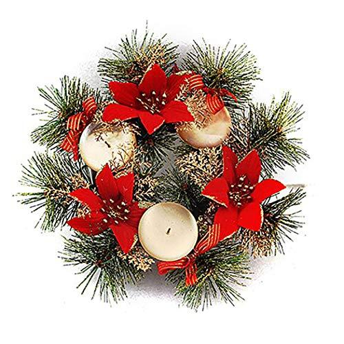 Bageek Candelabro de Navidad Corona de Flores Artificiales Soporte de Velas Centro de Mesa de Navidad Decoraciones...