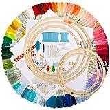 Aimego Kits de Punto de Cruz, 100 PCS Hilos Multicolor 5 Aros Bordado 2 Tela Bordada con el Otro Accesorios para Punto de Cruz Tejido de Punto