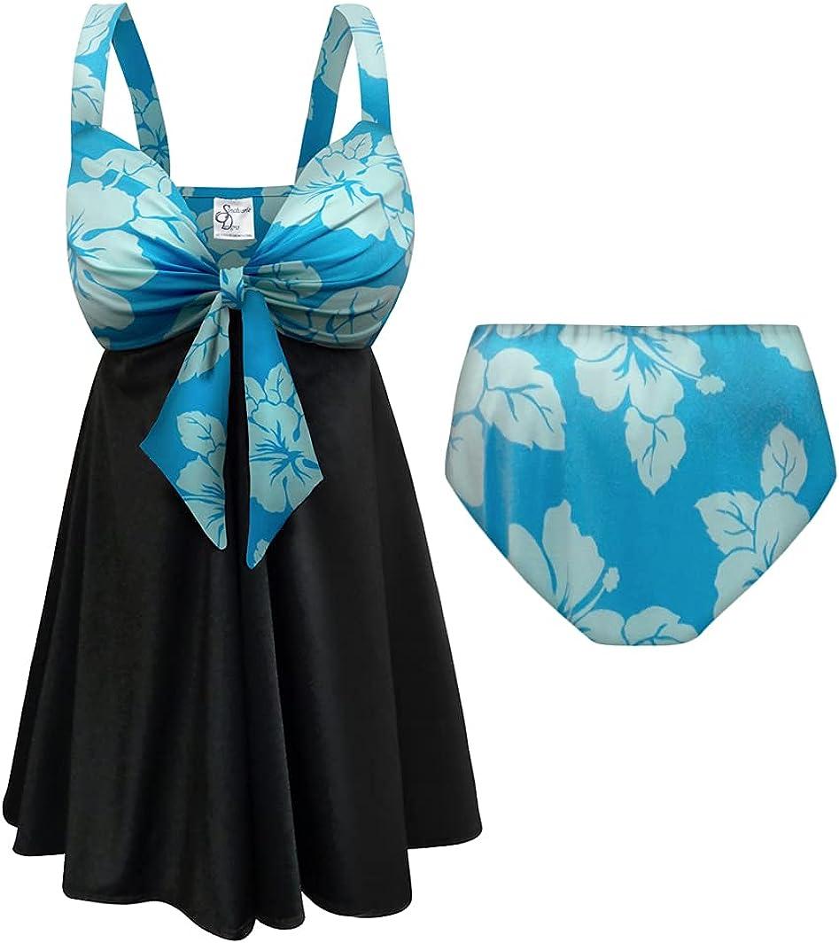 Sanctuarie Designs Plus Size Swimsuit 2-PC Sweetheart Swimdress Uki Uki Azure Print