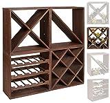 ts-ideen scaffalatura cubica per bottiglie di vino, impilabile, colore: marrone scuro, Legno, Dunkelbraun, Weinregal 4 x X