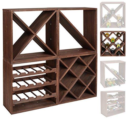 ts-ideen scaffalatura cubica per bottiglie di vino, impilabile, colore: marrone scuro, Legno,...