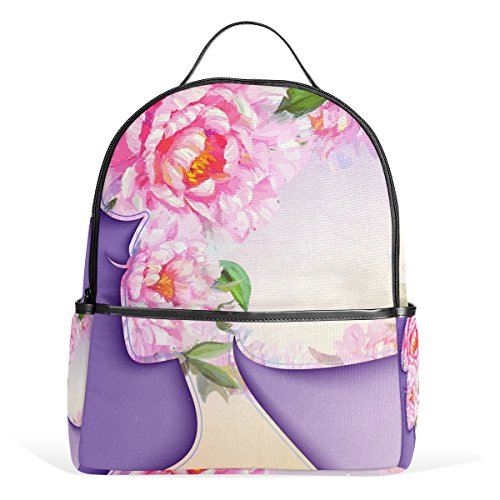 TIZORAX Mochila para portátil con diseño de Mujer Joven con Flores en el Pelo, Mochila Casual para el Hombro para Estudiantes, Bolso de Escuela, Ligero