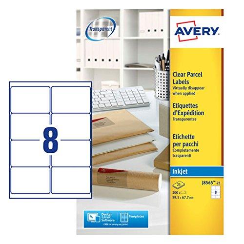 Avery J8565-25 Adressetiketten (8 Etiketten pro Blatt, 99,1 x 67,7 mm) 200 Stück transparent