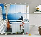 SHUHUI - Cortina de Ducha Europea, diseño de Terrasse con mar en la Arquitectura de Puesta de Sol sobre Tejido de Cuarto de baño, Juego de decoración Santorini-Isla de Grecia con Turquesa-Azul