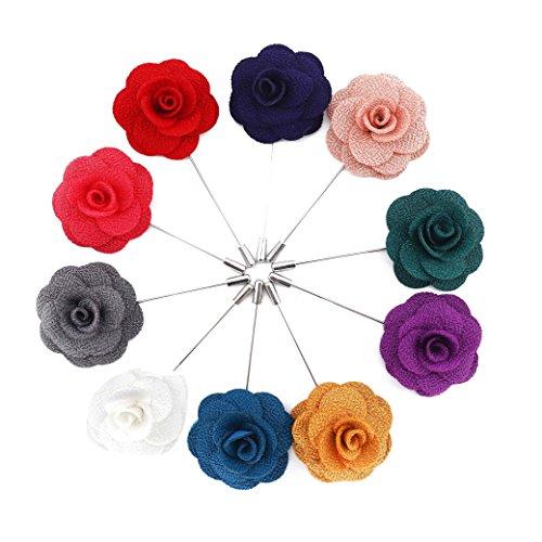 QH-Shop Boutonniere,Ansteckblume Handgemachte Blumen der Männer mit Geschenkbox für Anzug zum Hochzeit Bankett Party 10packungen