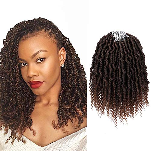 10 Inches 6Packs Bomb Twist Hair Crochet Braids Bomb Spring Twist Hair Braids Synthetic Short Pre-twisted Passion Twist Bohemian Locs Synthetic Braidng Hair Extension With Curly Ends(T1B/30#)