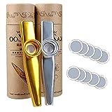 2 piezas de aleación de aluminio Kazoos y 20 membranas flautas de diafragma de boca Kazoos con caja de regalo vintage, un buen compañero para un ukelele de guitarra