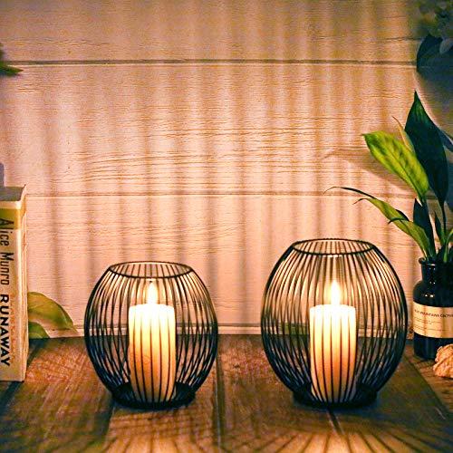 WEIMIN Kerzenständer 2er Set, Kerzenständer Schwarz, Oval Metall Kerzenhalter für Wohnzimmer Schlafzimmer Vintage Deko, Hochzeit Bankett Weihnachts Kerzenleuchter 14 * 15.5/16 * 18cm