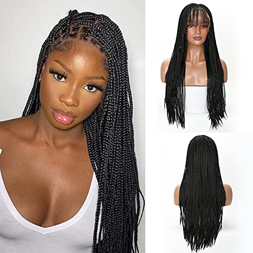 """Braided Wig Hand Braided 13X6"""" Lace Frontal Wig Braided Wigs for Black Women Human Hair Lace Front Tightly Done Lightweight Synthetic Wig 24 inch"""