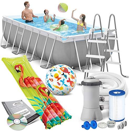 Intex Prism Frame Swimming Pool 400 x 200 x 122 cm Rechteck Stahlwand Leiter & Pumpe 26790 sowie Extra-Zubehör wie: Luftmatratze und Strandball